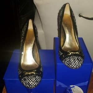 Authentic black and white wool&leather coach heels